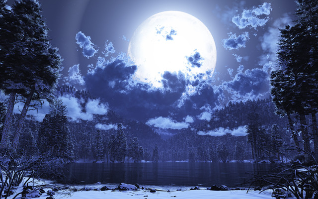 full moon snow